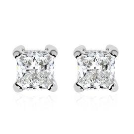 NY Closeout Deal- 14K White Gold Diamond Princess Cut (GH-I1/I2) Stud Earrings (with Push Back) 0.50