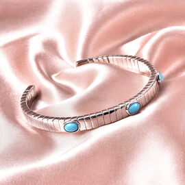 GP Tubogas Collection- Arizon Sleeping Beauty Turquoise and Blue Sapphire Bangle (Size 7.5) in Rhodium Overlay Sterling Silver Silver wt. 33.33 Gms