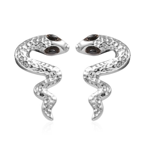 Platinum Overlay and Black Plating Sterling Silver Snake Earrings (With Push Back)