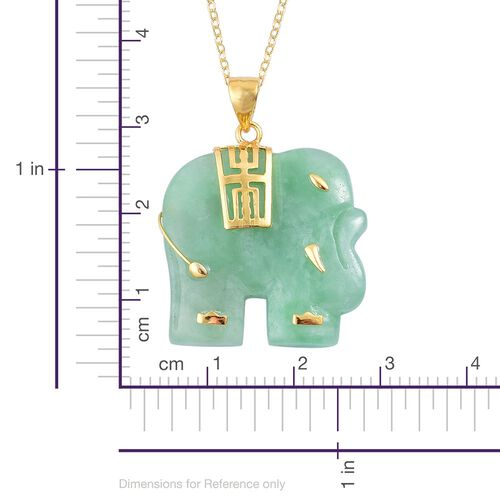 Carved Green Jade Chinese Symbol (Longevity) Elephant Pendant with Chain (Size 20) in Yellow Gold Overlay Sterling Silver 20.000 Ct.
