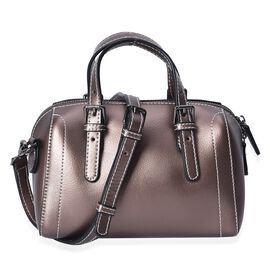 100% Genuine Leather Bronze Colour Tote Bag (Size 20x10.5x13 Cm) with Detachable Shoulder Strap (110