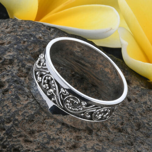 Royal Bali Collection Sterling Silver Filigree Band Ring, Silver wt 4.61 Gms.