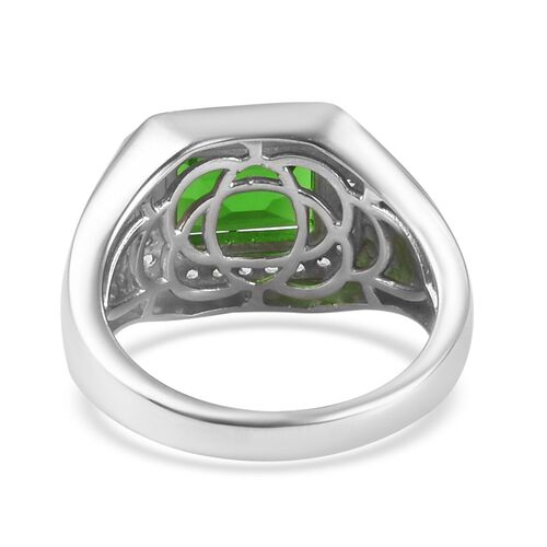 Helenite and Natural Cambodian Zircon Ring in Platinum Overlay Sterling Silver 3.75 Ct, Silver wt 6.25 Gms