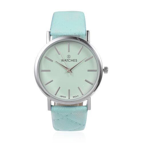 STRADA Japanese Movement Watch with Blue Green Colour Strap and  Blue Green Colour Faux Fur Scarf (Size 100x15 Cm)
