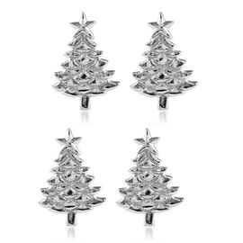 Set of 4 - Pine Tree Cast Aluminum Napkin Ring with Gift Box