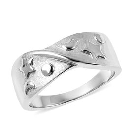 RACHEL GALLEY Sandblast Collection Celestial Theme Band Ring in Rhodium Plated Sterling Silver