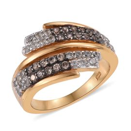 Natural Cambodian Zircon (Rnd), Brown Zircon Bypass Ring in 14K Gold and Black Overlay Sterling Silv