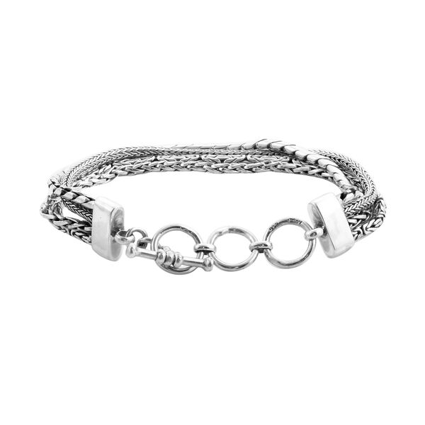 Royal Bali Collection Sterling Silver Bracelet (Size 8) with T-bar Lock