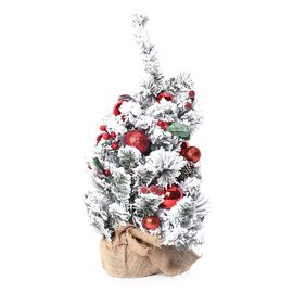 Christmas Tree With Snow Flocking & Baubles Embellished With Pine Nuts Red Baubles and Red Berries (