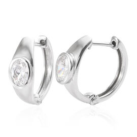 J Francis - Platinum Overlay Sterling Silver (Ovl) Hoop Earrings (with Clasp) Made With SWAROVSKI ZIRCONIA