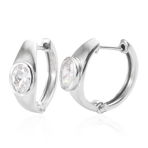 J Francis - Platinum Overlay Sterling Silver (Ovl) Hoop Earrings (with Clasp) Made With SWAROVSKI ZI