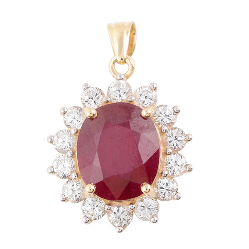 9.40 Ct AAA African Ruby and Zircon Halo Pendant in 9K Yellow Gold