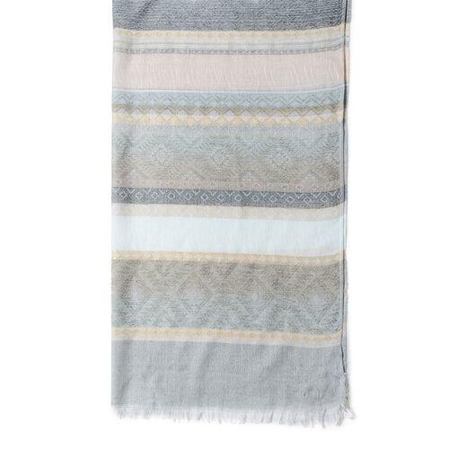 Green, Cream and Multi Colour Stripe Pattern Scarf (Size 180x68 Cm)