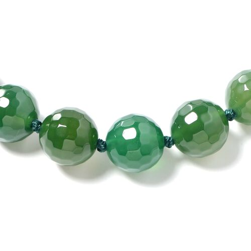 Faceted Green Agate (Rnd 14-16 mm) Beads Necklace (Size 18) with Magnetic Clasp in Rhodium Overlay Sterling Silver 628.000 Ct.