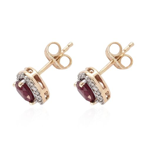 9K Yellow Gold AA African Ruby (Hrt), Diamond Earrings with Push Back1.500 Ct.