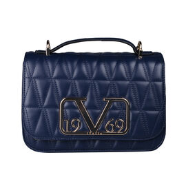 19V69 ITALIA by Alessandro Versace Quilted Pattern Crossbody Bag with Detachable Chain Strap (Size 22x14x8Cm) - Navy