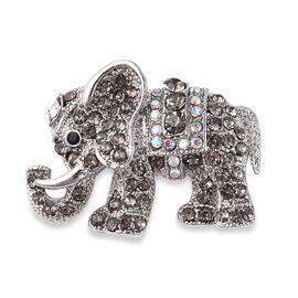 Multicolour Austrian Crystal Elephant Brooch in Silver Tone