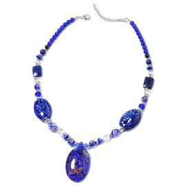 Blue Murano Glass and Simulated Multi Gemstone Statement Necklace 24 with 3 inch Extender
