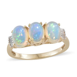 Ethiopian Opal (1.47 Ct) and Diamond 9K Y Gold Ring  1.500  Ct.