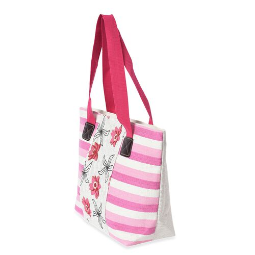 2 Piece Set - Strip and Flower Pattern Tote Bag with Zipper Closure (Size 44x30x14 Cm) and Hat with Bowknot (Size 29x31 Cm) - Cream and Pink