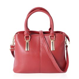 100% Genuine Leather Red Colour Tote Bag with External Zipper Pocket and Removable Shoulder Strap (Size 29.5x22x12.5 Cm)