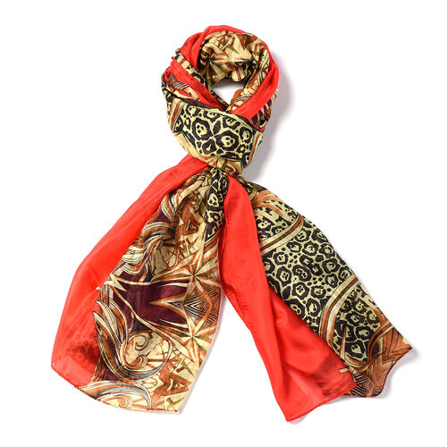 Close Out Deal- 100% Mulberry Silk Leo Pattern Scarf (Size 175x105 Cm) - Multi Colour