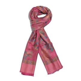 One Time Deal-Jacquard Weave Floral and Paisley Pattern Scarf Rose Pink and Multi Colour Patterns (S