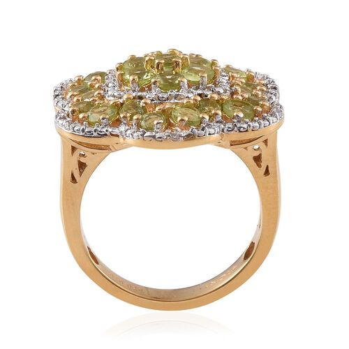 Hebei Peridot (Rnd), Natural Cambodian Zircon Floral Ring in 14K Gold Overlay Sterling Silver 2.750 Ct.