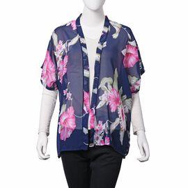 Navy, Pink and Multi Colour Rose Mallow Pattern Kimono (Size 68x65 Cm)