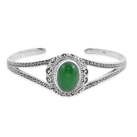 Royal Bali Collection - Green Jade Cuff Bangle (Size 7.5) in Sterling Silver 14.15 Ct, Silver wt 21.