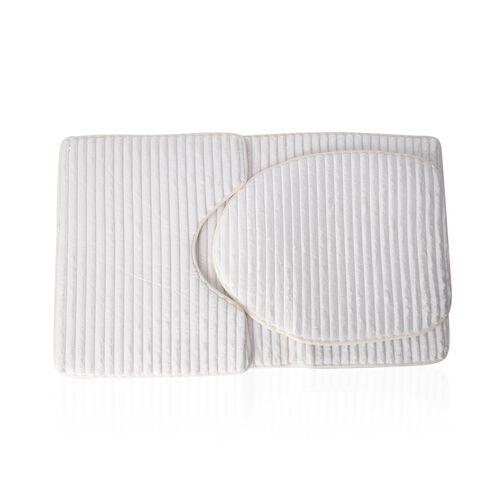 3 Pcs Bath Set - White Colour Bath Mats (Size 80x50 cm), Toilet Seat Cover (Size 47x40 cm) and Conto