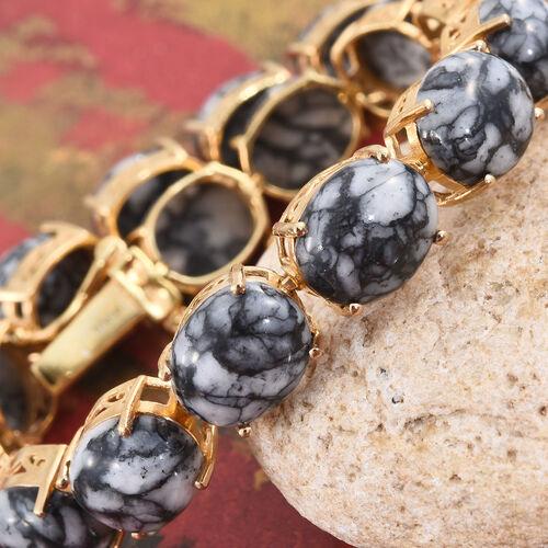 Austrian Pinolith (Ovl) Bracelet (Size 7.75) in 14K Gold Overlay Sterling Silver 67.000 Ct.