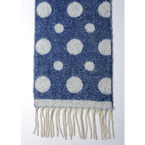 New Season- Blue and White Colour Polka Dot Pattern Shawl (Size 220x52 Cm)