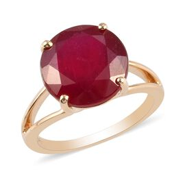 9K Yellow Gold AA African Ruby Solitaire Ring 9.00 Ct.