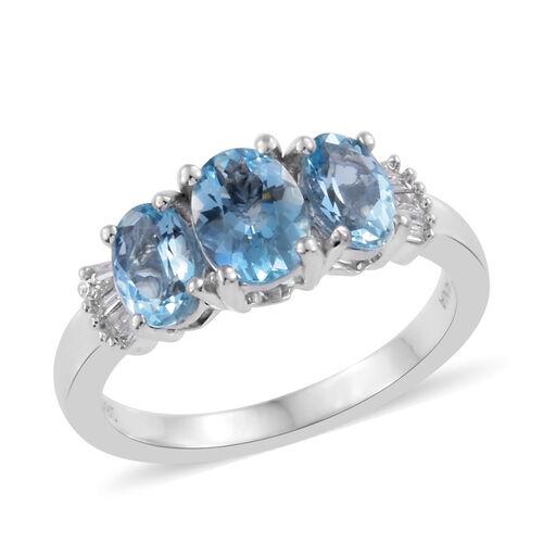 ILIANA 18K White Gold AAA Santa Maria Aquamarine (Ovl), Diamond (SI /G-H) Ring 1.500 Ct.