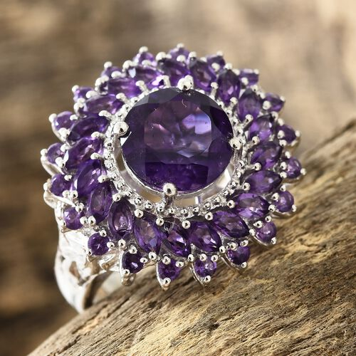 Amethyst (Rnd 3.15 Ct) Flower Ring in Platinum Overlay Sterling Silver 5.750 Ct. Silver wt 7.02 Gms.