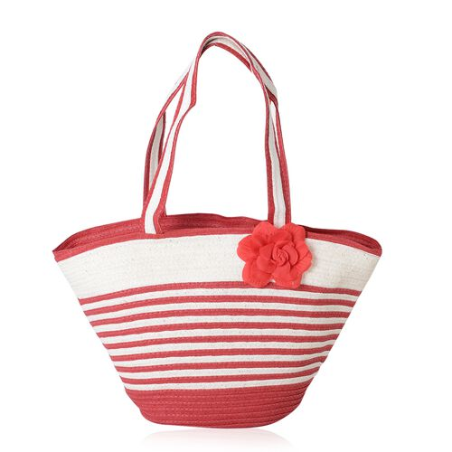 Summer Special - Red and White Colour Flower Adorned Stripe Pattern Tote Bag (Size 47x30x20x13 Cm) and Hat (Size 29x24 Cm)