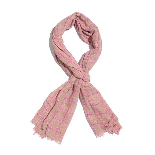 Designer Inspired New for Season Pink and Grey Colour Checks Pattern Scarf (Size 180x70 Cm)