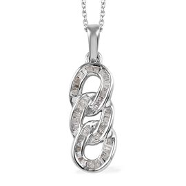 0.33 Ct Diamond Curb Link Pendant with Chain in Platinum Plated Silver 20 Inch