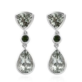 Prasiolite (Pear 12x8 mm), Russian Diopside Earrings (with Push Back) in Platinum Overlay Sterling S