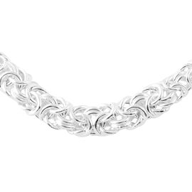 JCK Vegas Byzantine Chain Adjustable Necklace in Silver 24 Gtams 21 Inch