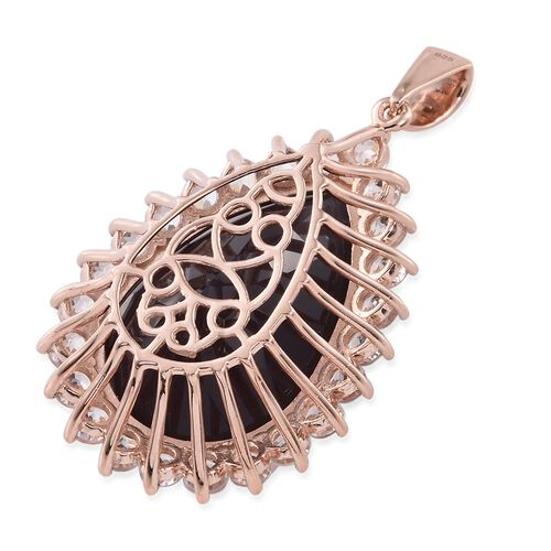 Alexandria Quartz (Pear 41.00 Ct), Natural Cambodian Zircon Pendant in Rose Gold Overlay Sterling Silver 48.000 Ct.