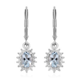 Espirito Santo Aquamarine (Ovl), Natural Cambodian Zircon Lever Back Earrings in Platinum Overlay St