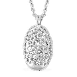RACHEL GALLEY Rhodium Overlay Sterling Silver Lattice Necklace (Size 30), Silver wt 9.72 Gms.