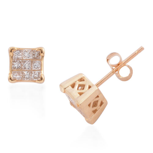 New York Close Out - 14K Yellow Gold Diamond (Princess Cut) (I1-I2/G-H) Earrings (with Push Back) 0.500 Ct., Gold wt 2.20 Gms.