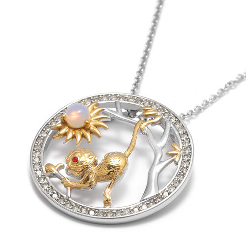 Opalite and Red, White Austrian Crystal Monkey Pendant with Chain (Size 24) in Gold Tone and Plain Stainless Steel