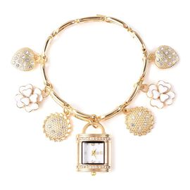 STRADA Japanese Movement White Austrian Crystal Multi-charm Bracelet Watch in Gold Tone