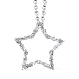 Diamond (Bgt and Rnd) Star Pendant With Chain in Platinum Overlay Sterling Silver 0.330 Ct.