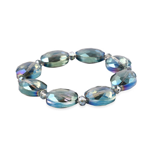 2 Piece Set - Simulated Sky Blue Topaz Beads Hook Earrings and Stretchable Bracelet (Size 7)