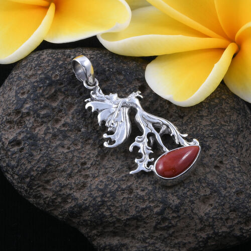 Royal Bali Collection - Red Jade (Pear) Pendant in Sterling Silver 9.680 Ct, Silver wt 6.50 Gms.